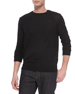 Vince Long Sleeve Lightweight Merino Wool Sweater, Black
