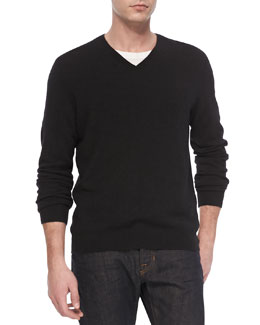 Vince Cashmere V-Neck Sweater, Black
