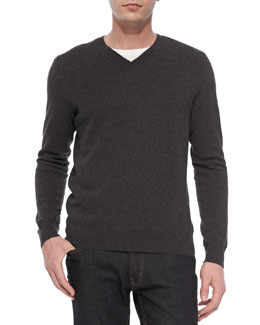 Vince Cashmere V-Neck Sweater, Gray