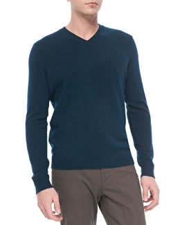 Vince Cashmere V-Neck Sweater, Blue