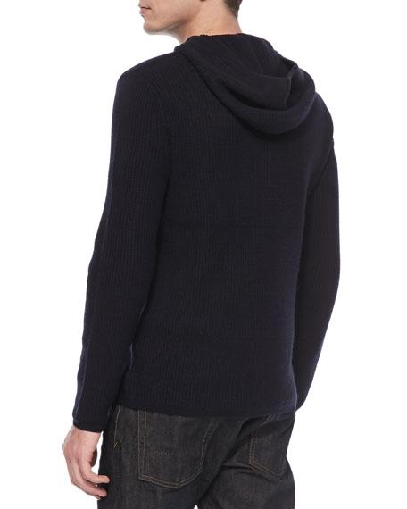 Long-Sleeve Thermal Hoodie, Navy
