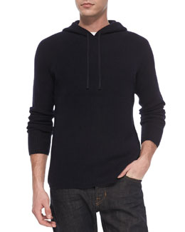 Vince Long-Sleeve Thermal Hoodie, Navy
