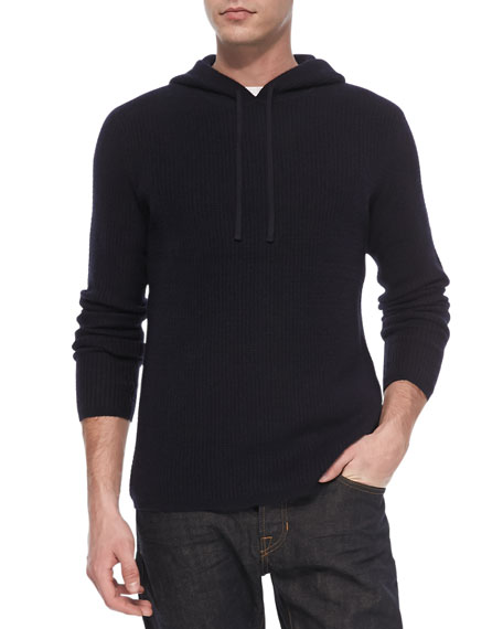 Long-Sleeve Thermal Hoodie, Navy