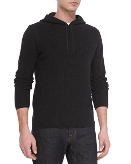 Vince Thermal Long Sleeve Hoodie, Black