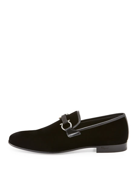 Velvet Gancini Loafer, Black