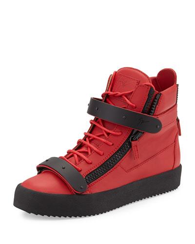 Giuseppe Zanotti Men's Matte-Leather High-Top Sneaker, Red
