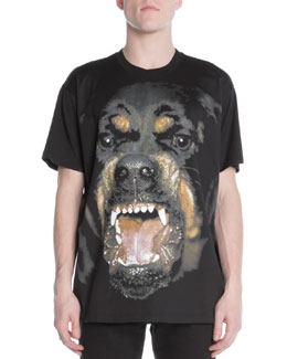 Givenchy Snarling Rottweiler Dog Jersey Tee, Black