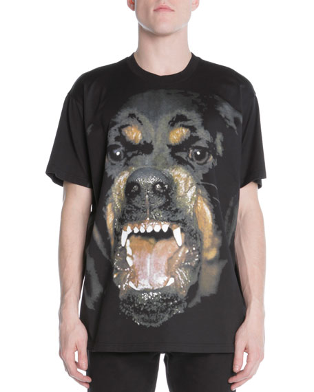 Snarling Rottweiler Dog Jersey Tee, Black