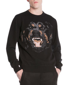 Rottweiler Embroidered Pullover Sweater Black