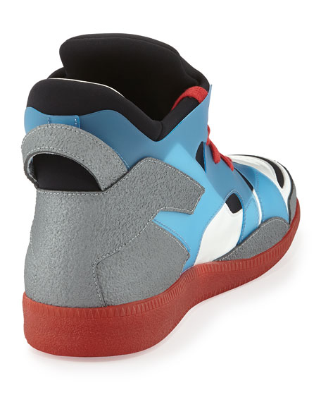 688e9753fc3230 Maison Margiela Neo Colorblock High-Top Red-Bottom Sneaker