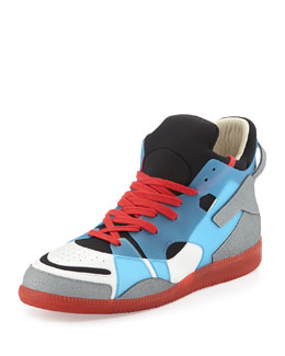 Maison Martin Margiela Neo Colorblock High-Top Red-Bottom Sneaker, Blue/Red
