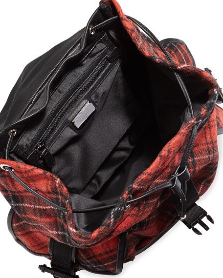 Obsedia Men's Tartan Wool Backpack, Red