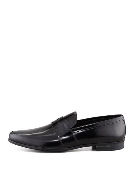Polished Leather Penny Loafer, Black