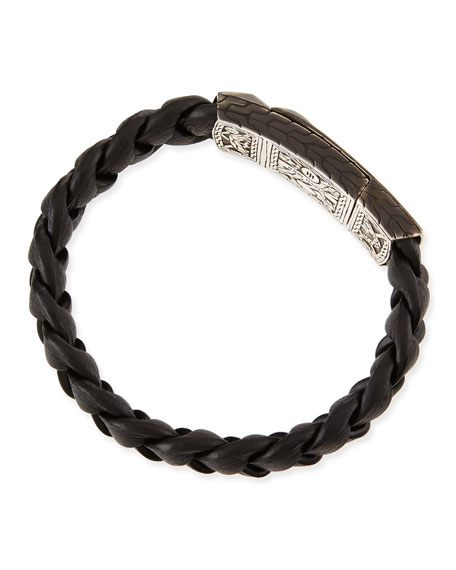 Men's Classic Chain Station Bracelet with Leather Strap