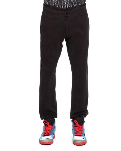 Maison Martin Margiela Jersey Button-Front Sweatpants, Black
