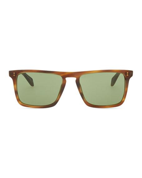 Bernardo Rectangular Sunglasses, Matte Sandalwood