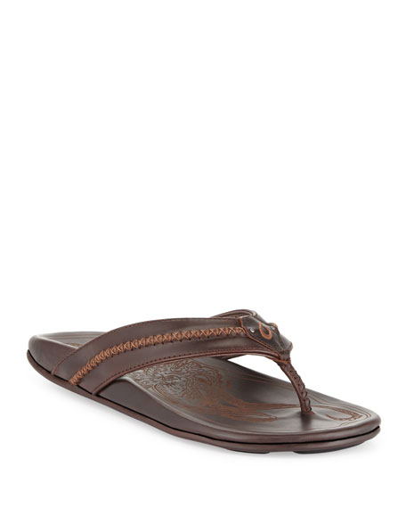 OlukaiMea Ola Men's Thong Sandal, Dark Java