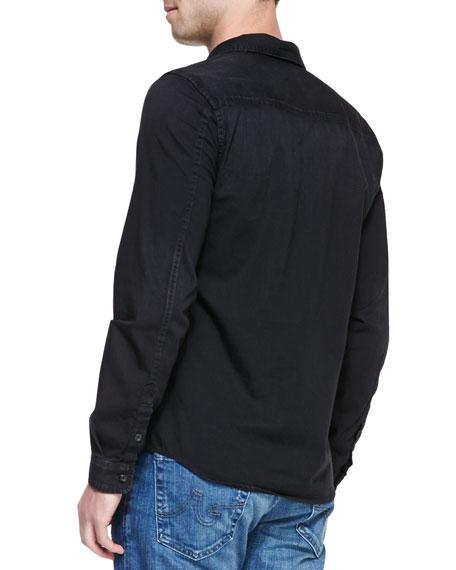 Long-Sleeve Denim Shirt, Black