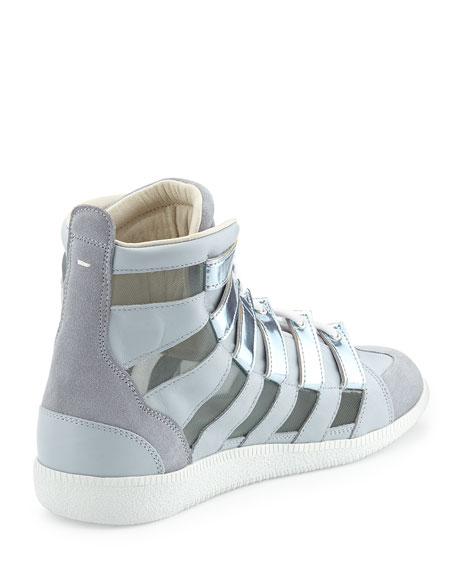 Metallic Mesh High-Top Sneaker, Silver