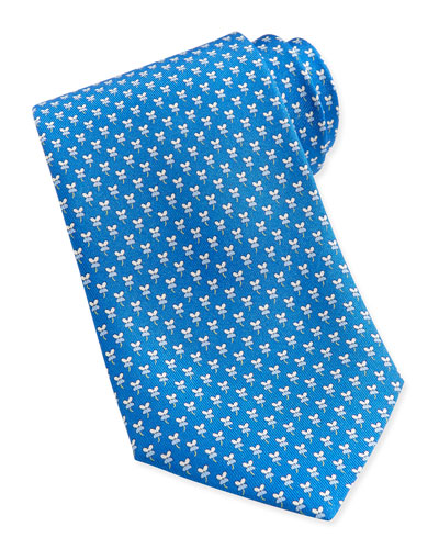 Salvatore Ferragamo Hibiscus Flower Woven Tie, Blue