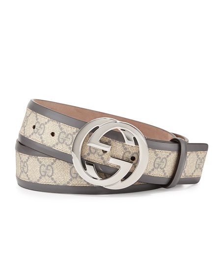 GG Cavnas Belt with Interlocking G Buckle, Gray