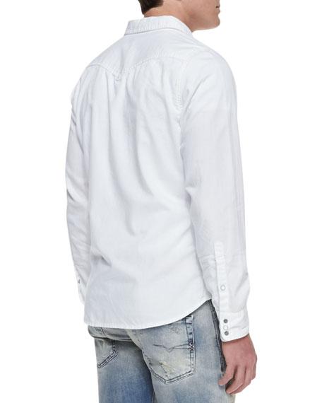 Sonora Denim Western Long-Sleeve Shirt, White