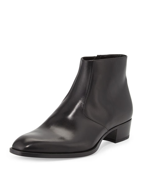 Saint Laurent Wyatt Men's Leather Ankle Boot, Black