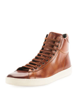 Tom Ford Russell Leather High-Top Sneaker, Light Brown