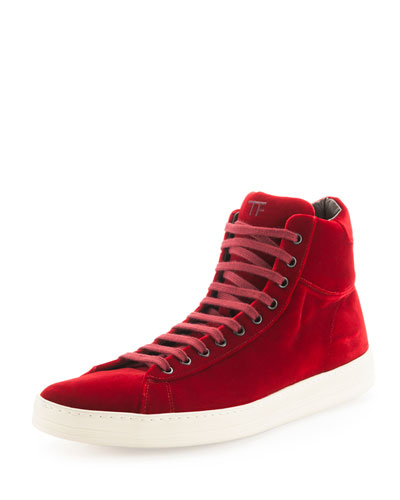 Russel Velvet High-Top Sneaker, Red