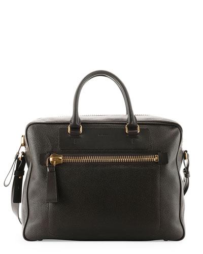 Buckley Side-Zip Briefcase, Dark Brown