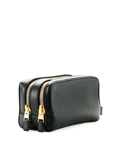Pebbled Leather Toiletry Case, Black