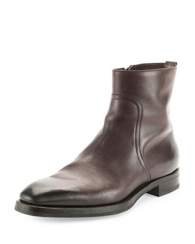 Carter Side-Zip Leather Boot, Dark Brown