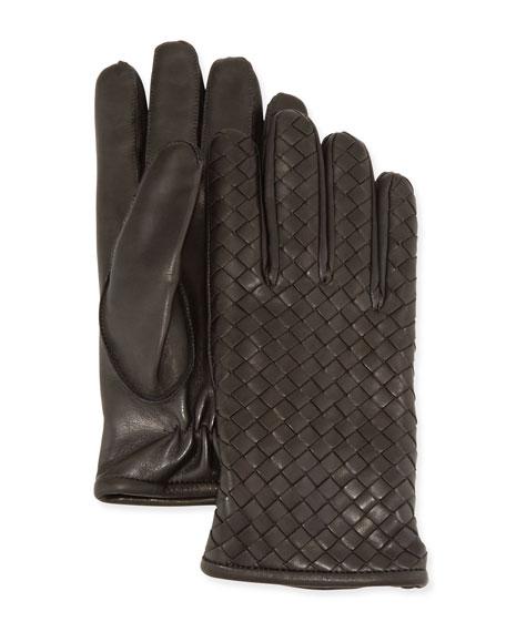 Bottega Veneta Men's Woven Leather Gloves, Gray