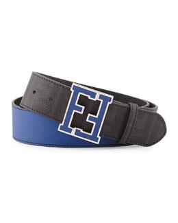 Fendi Zucca FF-Buckle Belt, Neon Blue