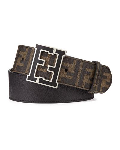 Fendi Zucca College Belt, Tobacco-Black