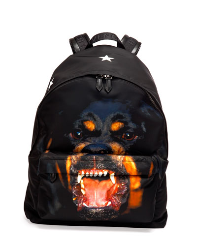 Givenchy Rottweiler Nylon Backpack, Black
