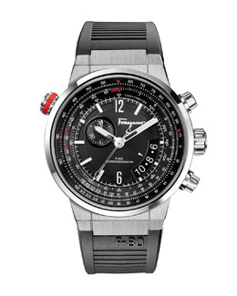 Salvatore Ferragamo F-80 Stainless Steel Chronograph Watch, Black