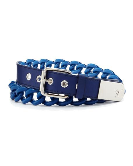 Giuseppe Zanotti Men's Leather Chain Grommet Belt, Blue