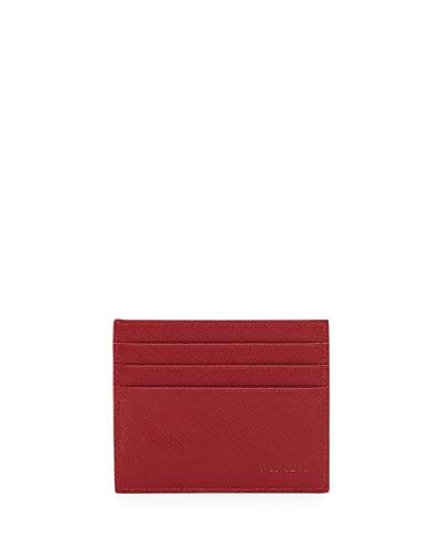 Saffiano Card Case, Red
