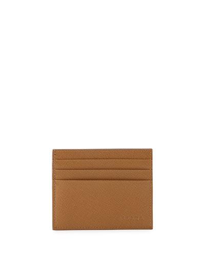 Saffiano Card Case, Caramel