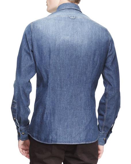 Faded Denim Italian-Fit Western Shirt
