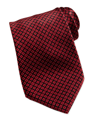 Windowpane/Floral Pattern Silk Tie, Red