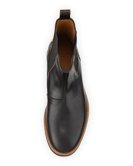 Kansas Combo Leather Boot, Black
