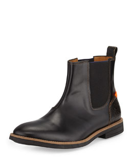 Kansas Combo Leather Boot, Black