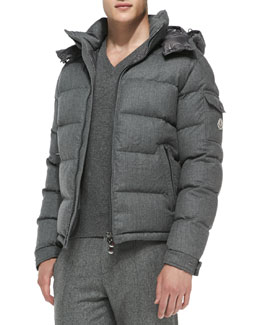 Moncler Mont Genevre Quilted Wool Jacket, Gray
