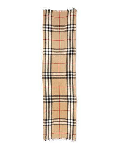 Men's Cashmere-Wool Blend Crinkle Scarf, Camel
