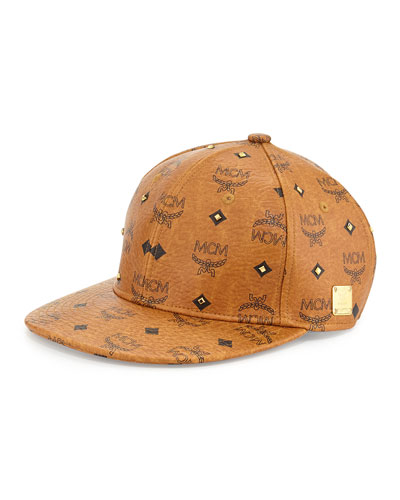 MCM Logo & Golden-Stud Cap, Medium Cognac
