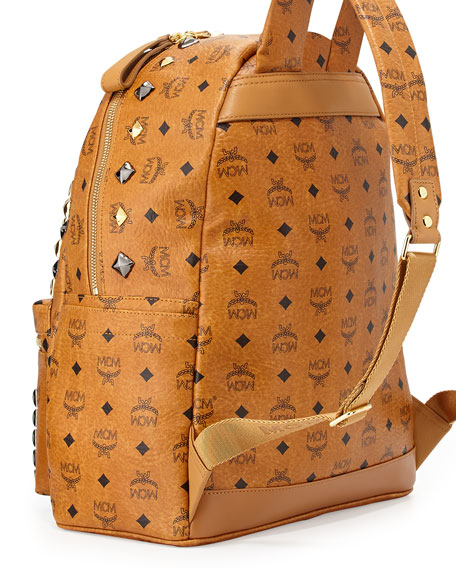MCM Stark M Stud Medium Backpack, Cognac
