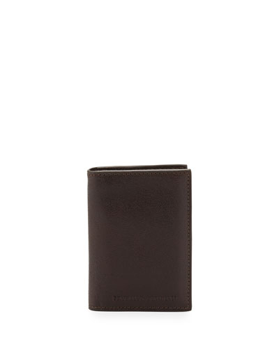 Leather Card Holder Wallet, Brown
