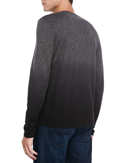 Superfine Dip-Dye Cashmere Crewneck Sweater, Gray/Black